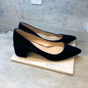 Zara Navy Pointed Toe Block Heels